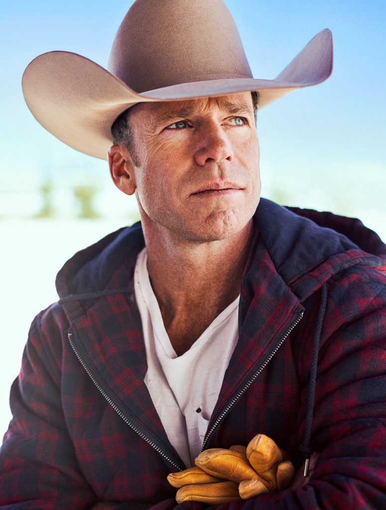 Taylor Sheridan, Writer and Director of Yellowstone, wears a Greeley Hat Works Custom Hat