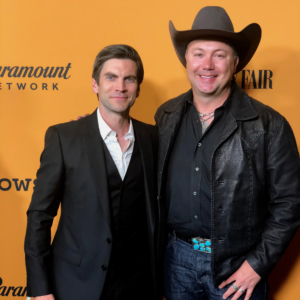 Trent Johnson and Wes Bentley, Jamie Dutton, at the Yellowstone Season 1 premiere